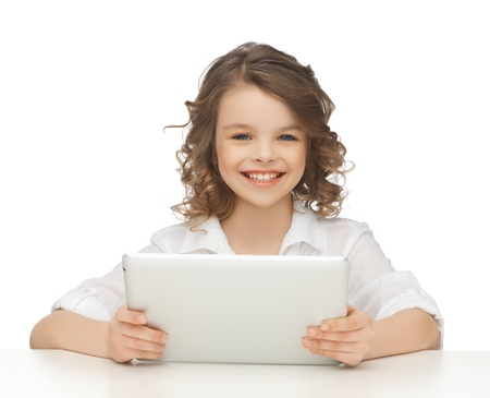 picture of beautiful girl with tablet pc photo