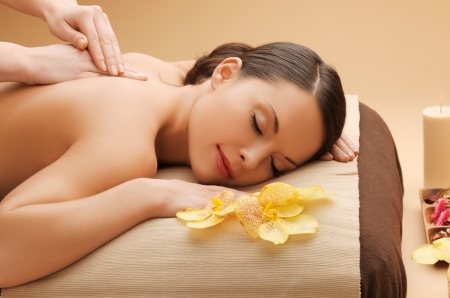 health and beauty: picture of calm beautiful woman in massage salon Stock Photo