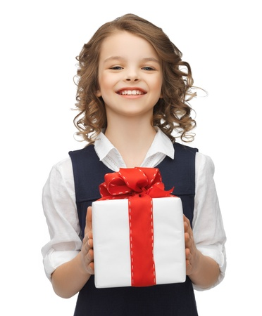 beautiful preteen girl: picture of beautiful girl with gift box