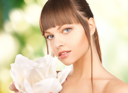 smooth hair: picture of beautiful woman with orchid flower