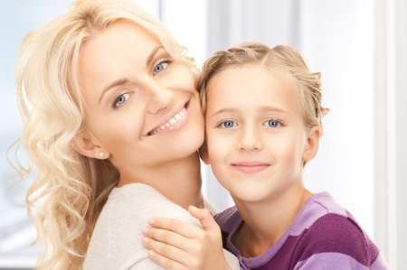 blonde mom: bright picture of happy mother and child