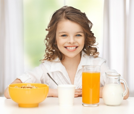 picture of beautiful girl with healthy breakfast photo