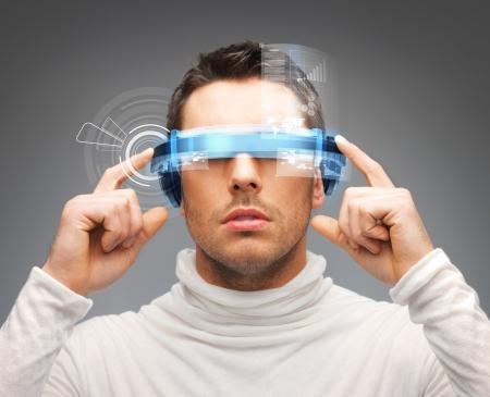 robot: imagen de hombre de negocios guapo con gafas digitales Foto de archivo