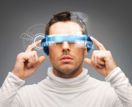 innovation technology: picture of handsome businessman with digital glasses Stock Photo