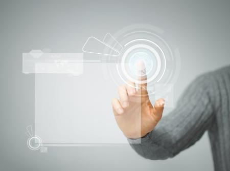 pushing the button: bright picture of man pressing virtual button