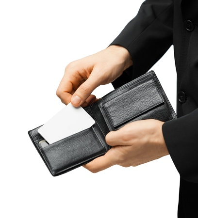 wallet: man in suit with wallet and credit card