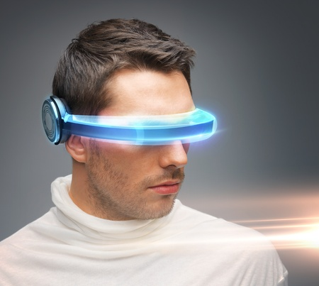 picture of handsome man with futuristic glasses Stock Photo - 18299828