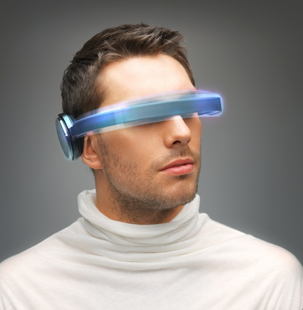 picture of handsome man with futuristic glasses Stock Photo - 18299832