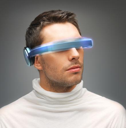 futuristic man: picture of handsome man with futuristic glasses