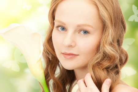 picture of beautiful woman with calla flower Stock Photo - 18299844