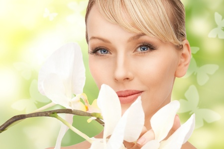 picture of beautiful woman with orchid flower and butterflies Stock Photo - 18299831
