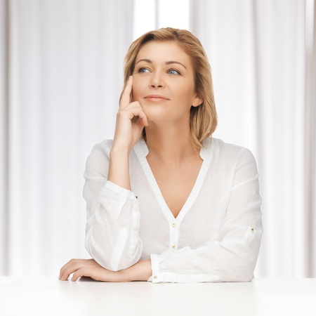 bright picture of thoughtful woman in casual clothes Stock Photo - 18299792