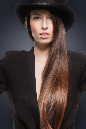 picture of woman in black jacket and top hat Stock Photo - 18299835
