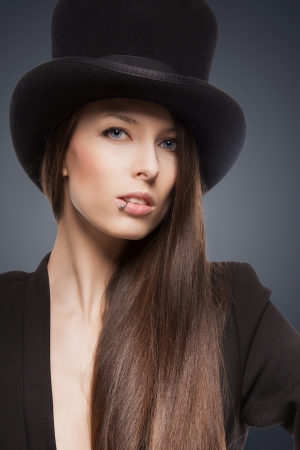 picture of woman in black jacket and top hat Stock Photo - 18299827