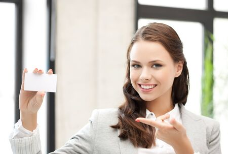 smiling and confident woman with blank business card Stock Photo - 18299787