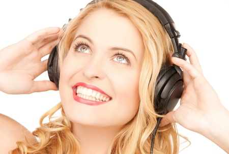 picture of happy and smiling woman with headphones Stock Photo - 18299791