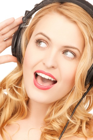 picture of happy and smiling woman with headphones Stock Photo - 18299834