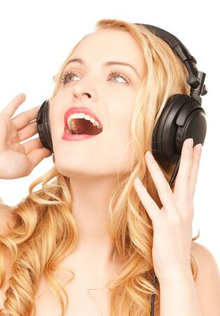 picture of happy and smiling woman with headphones Stock Photo - 18299820