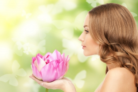 pink lotus: picture of beautiful woman with lotus flower and butterflies