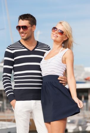 sailor man: picture of happy young couple in port Stock Photo