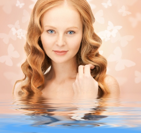 bright picture of beautiful woman with butterflies in water Stock Photo - 18365421