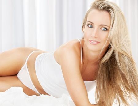 sleepwear: picture of sexy blonde in white cotton underwear