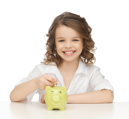 piggy bank money: picture of beautiful girl with piggy bank