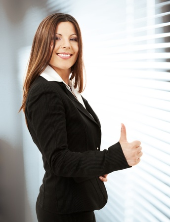 sexy office girl: picture of happy successful businesswoman in office