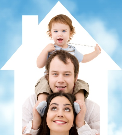 values: bright picture of happy family over house symbol and blue sky Stock Photo
