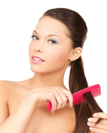 smooth hair: bright picture of beautiful woman with comb