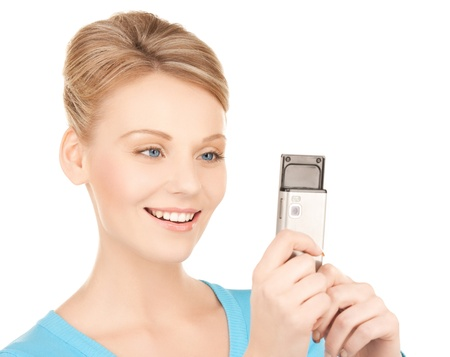 picture of smiling woman with cell phone photo