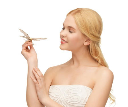 butterfly hand: picture of beautiful woman with butterfly in hand