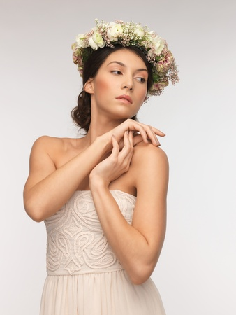 picture of young woman wearing wreath of flowers Stock Photo - 18530482