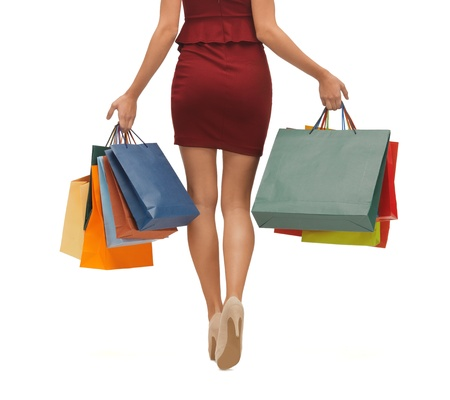 long legs: picture of woman s long legs with shopping bags