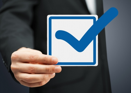 picture or closeup of checkbox and blue mark in it photo