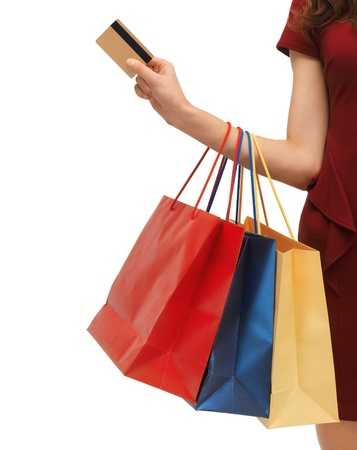 shopping bag: closeup or picture of woman with shopping bags   Stock Photo