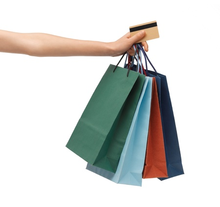 closeup of multi colored shopping bags and credit card Stock Photo - 18582889