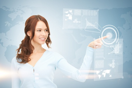 high tech device: picture of attractive businesswoman touching virtual screen
