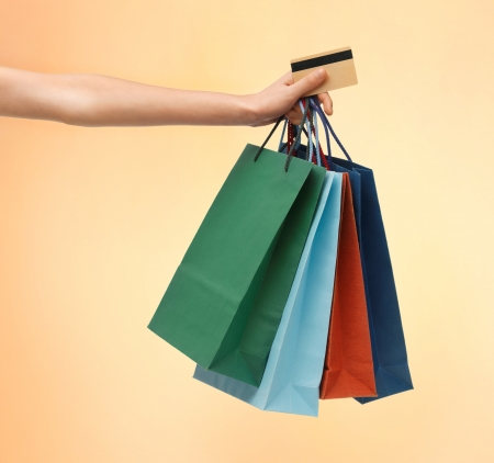 closeup of multi colored shopping bags and credit card  Stock Photo - 18655131