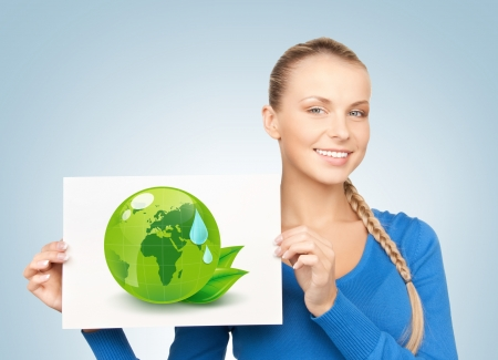 young woman with illustration of green eco globe Stock Illustration - 18691566