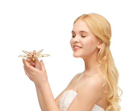 picture of beautiful woman with butterfly in hand Stock Photo - 18691588