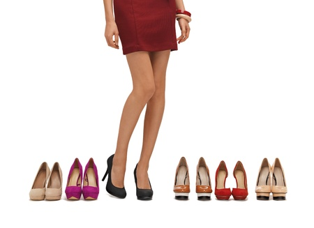 heels shoes: woman s long legs with high heels and shoes
