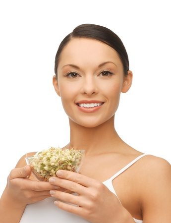 bean sprouts: picture of healthy woman holding bowl with sprout