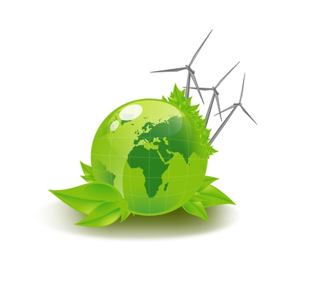 environmental damage: closeup picture of green globe and wind turbines