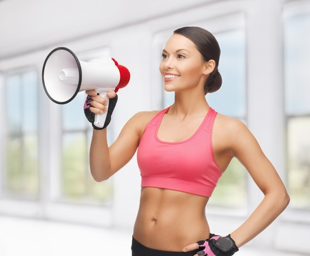picture of beautiful sporty woman with megaphone Stock Photo - 18803862