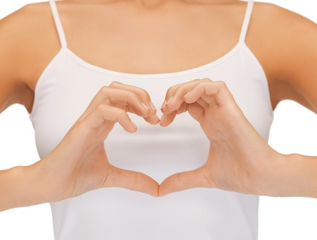 close-up of woman s hands showing heart shape Stock Photo - 18803877