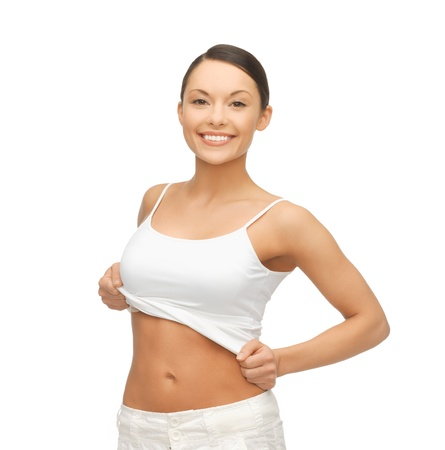 happy woman taking off  blank white t-shirt Stock Photo - 18822379