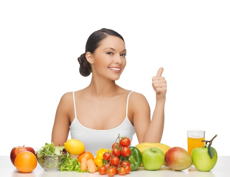 woman gives thumbs up with lot of fruits and vegetables Stock Photo - 18822387
