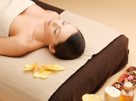 picture of woman in spa salon lying on the massage desk Stock Photo - 18803841