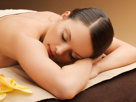 picture of woman in spa salon lying on the massage desk Stock Photo - 18803799